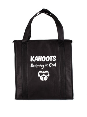 "Black insulated tote bag. Image of a dog's face printed on bag with the text, ""Kahoots, keeping it cool"""