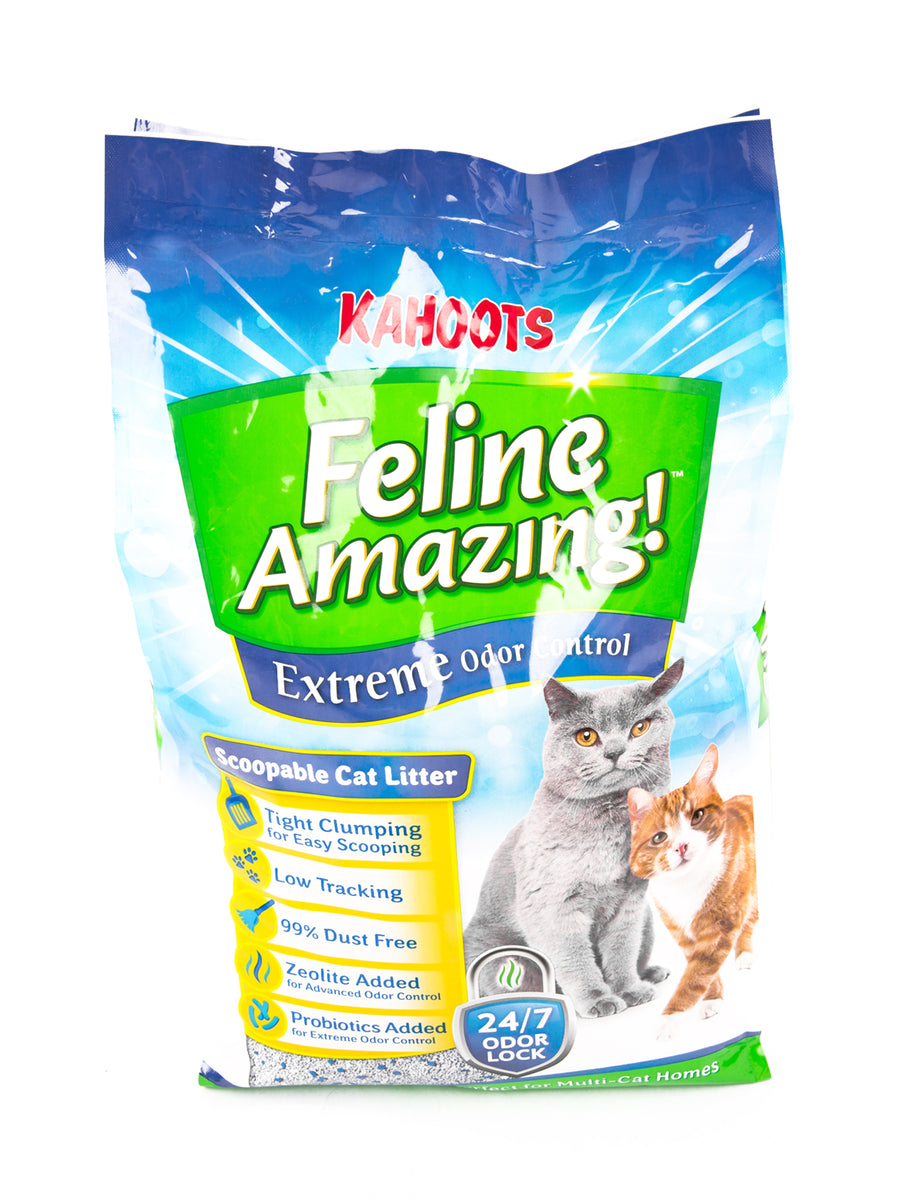 Feline Amazing Extreme cat litter bag. Picture of an adult cat and a kitten on the bag, 25lb