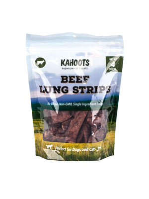 beef lung strips dog treat in bag