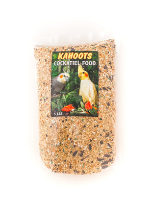 Cockatiel bird food in bag, mixed seeds