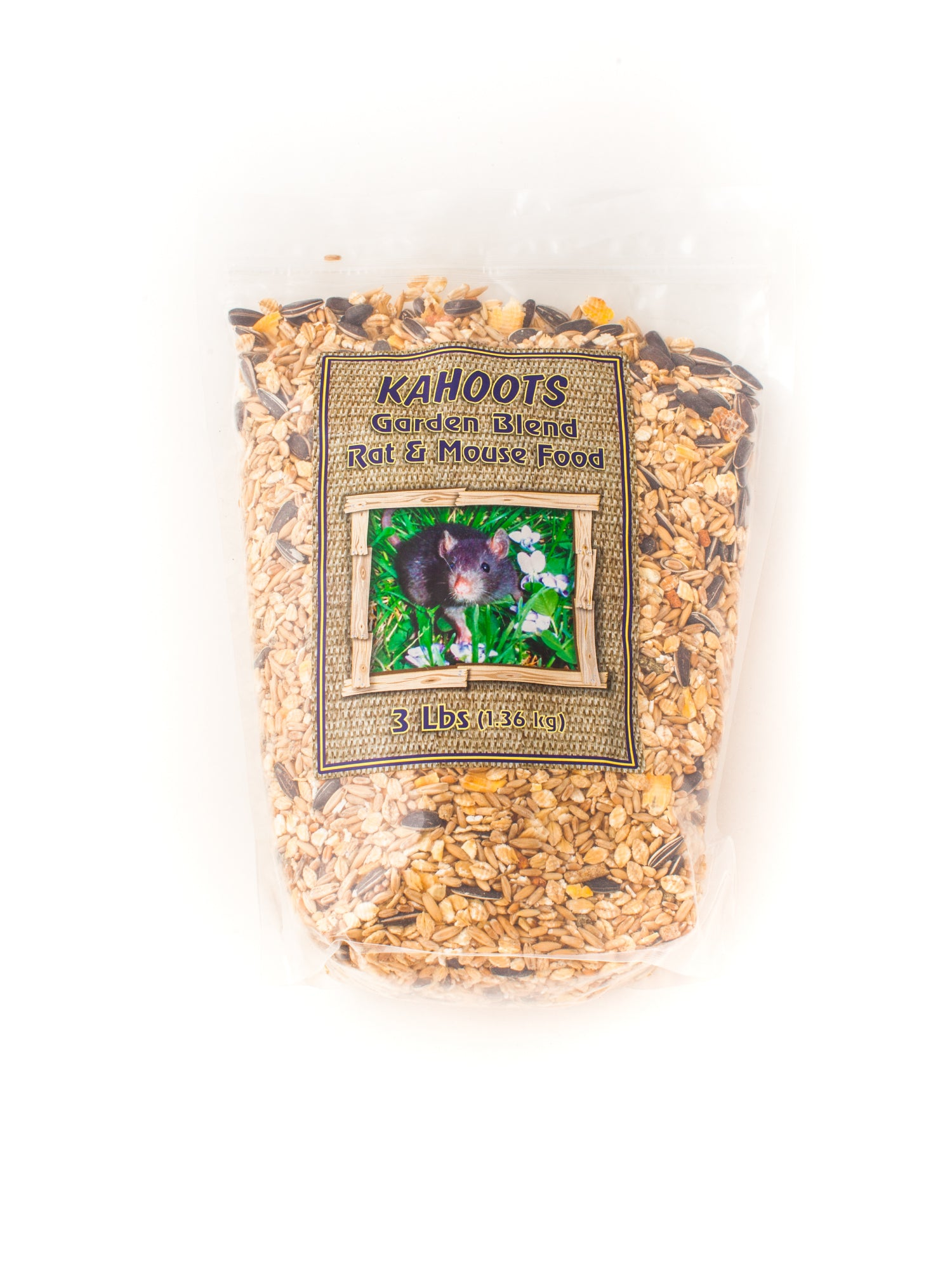 Rat and mouse food blend in bag. Picture of garden mouse on front label