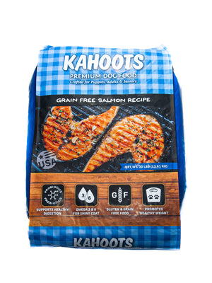 Grain free salmon dry dog food. Picture of grilled salmon over blue checked background on front of bag. 30lb