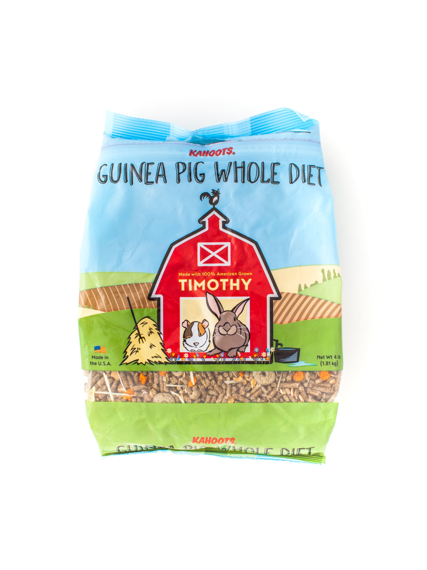 Guinea pig food in bag. Cartoon of rabbit and guinea pig sitting in a red barn on front of bag