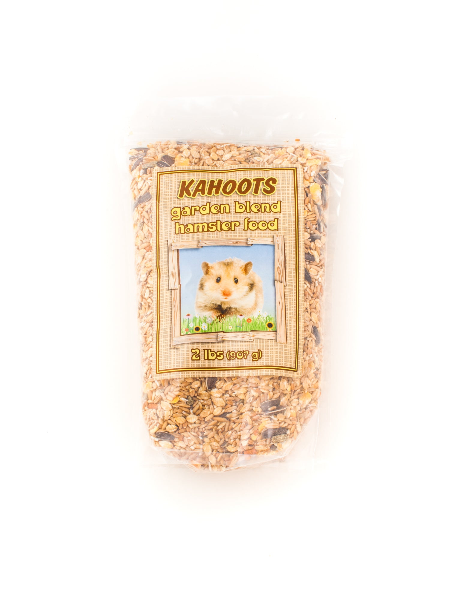 Hamster food blend in bag. Picture of hamster on front label
