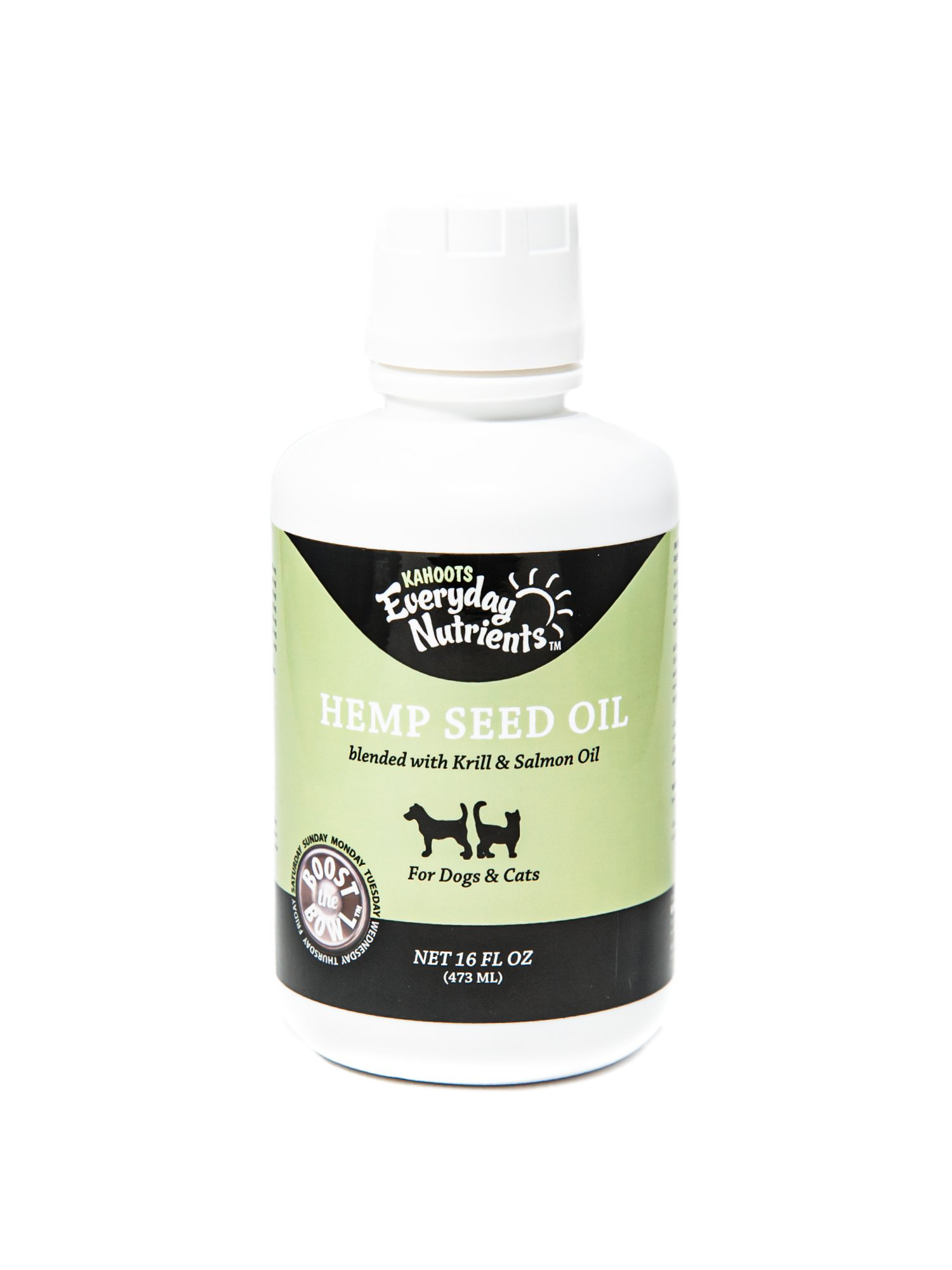 Hemp seed oil bottle. White bottle with a green label. Picture of dog and cat on label