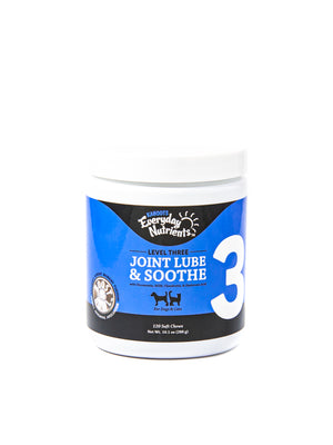 Joint lube and soothe Lvl 3 jar. Picture of dog and cat on label