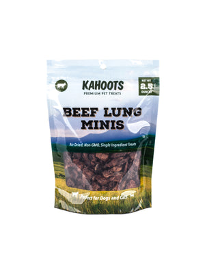 Beef lung minis dog treats in bag