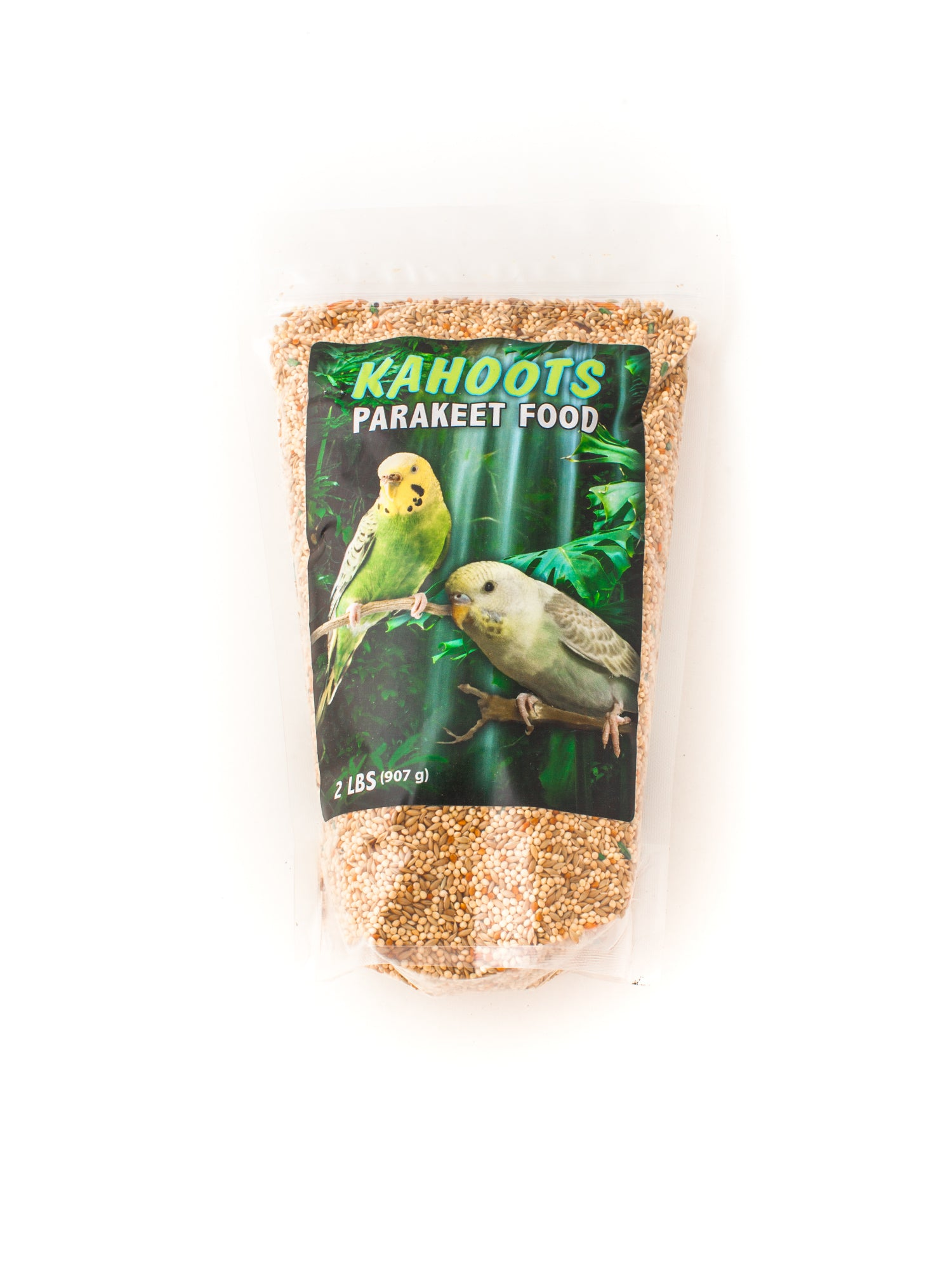 Parakeet bird seed mix. Picture of two multi-colored parakeets on front label