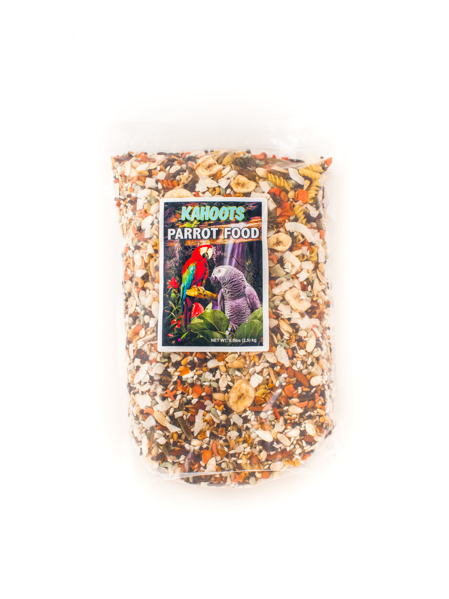Parrot food mix. Mixed seeds, tropical fruit, and noodles in bag. 3lb and 5.5lb