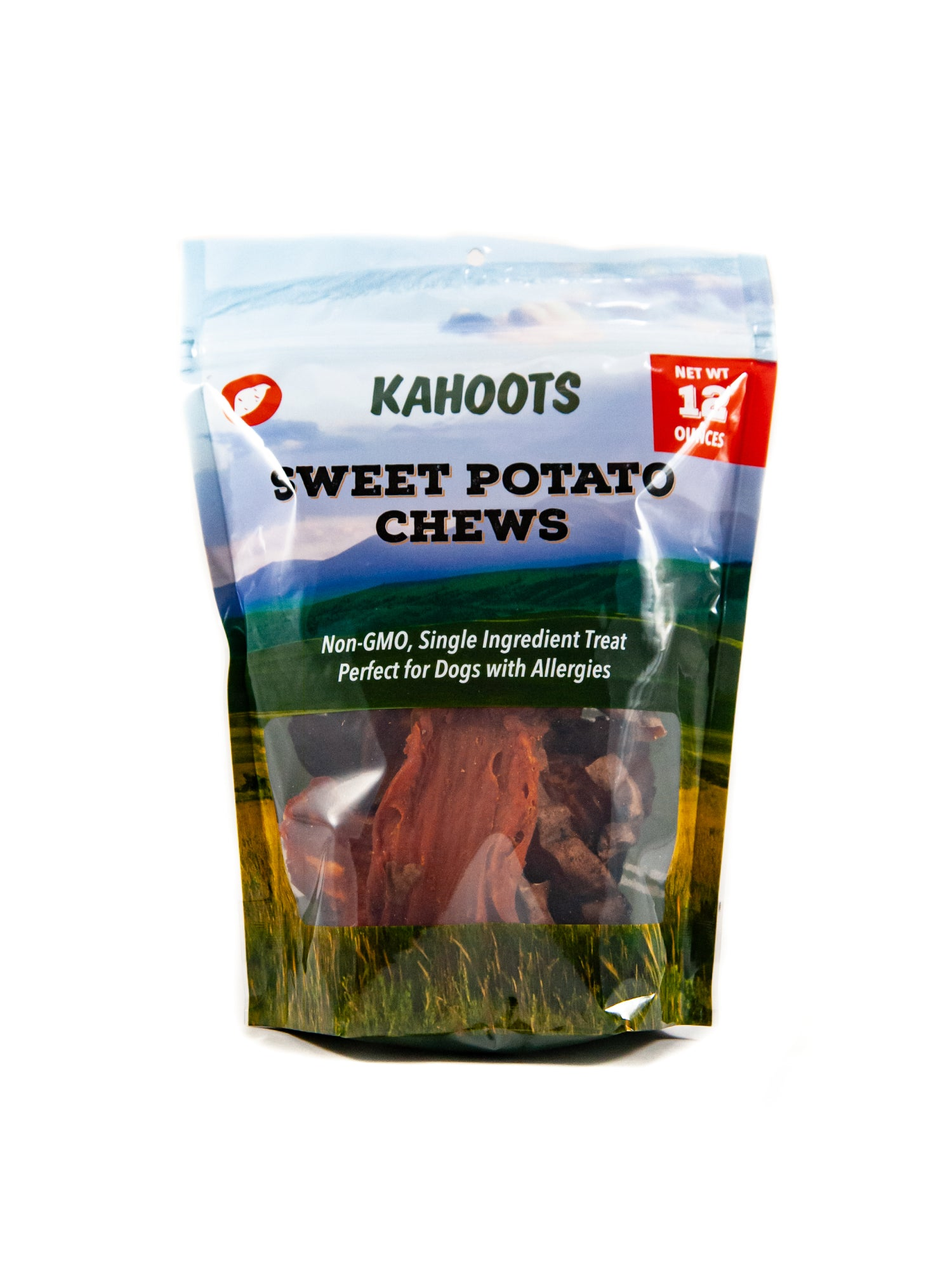 Sweet potato chews in a bag