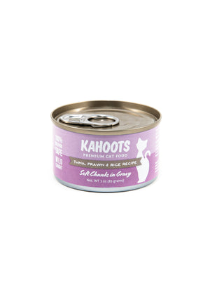 Tuna, prawn, and rice wet cat food. Picture of a white cat over a purple background on label