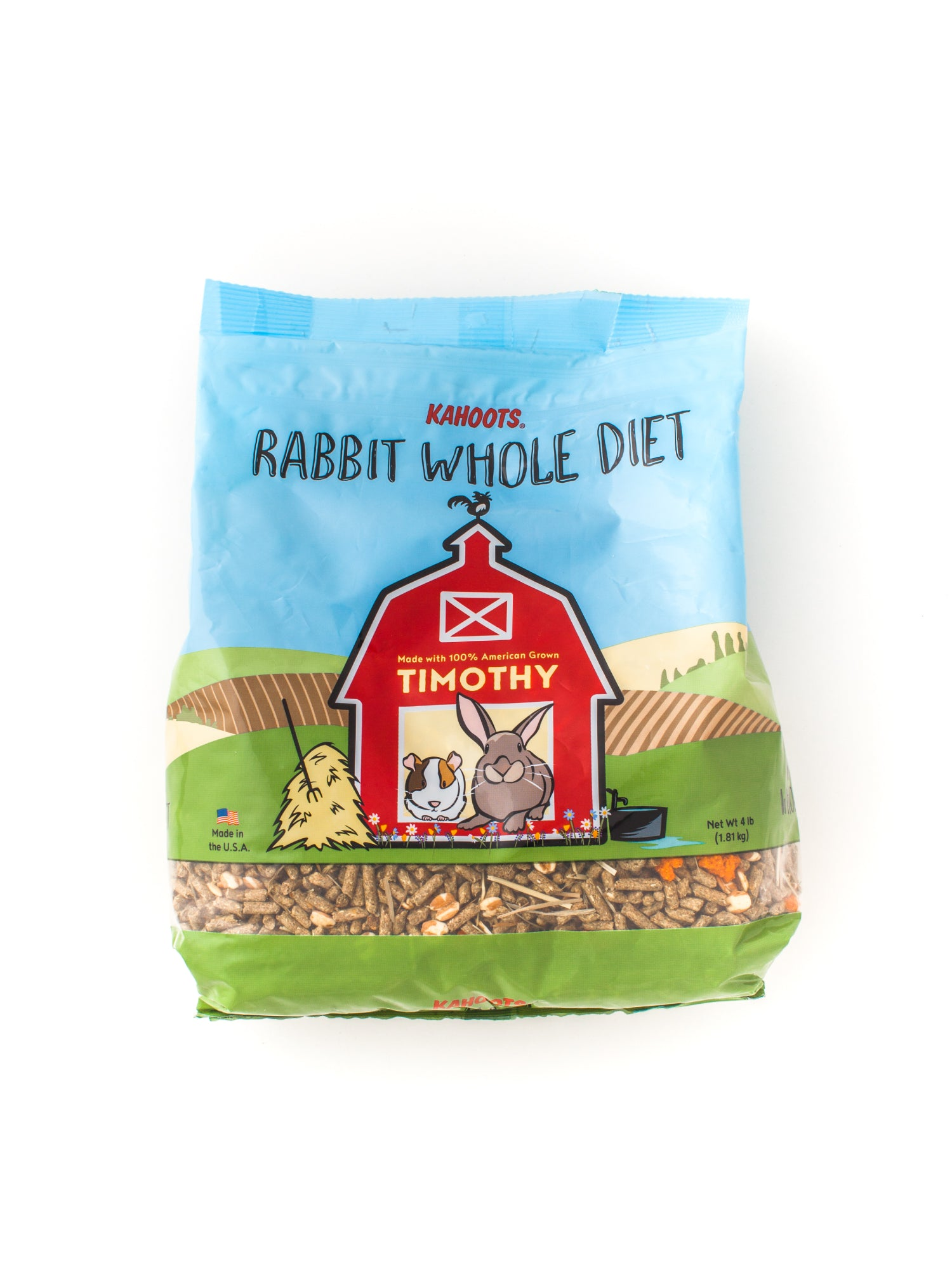 Rabbit pellets in bag. Cartoon of rabbit and guinea pig sitting in a red barn on front of bag
