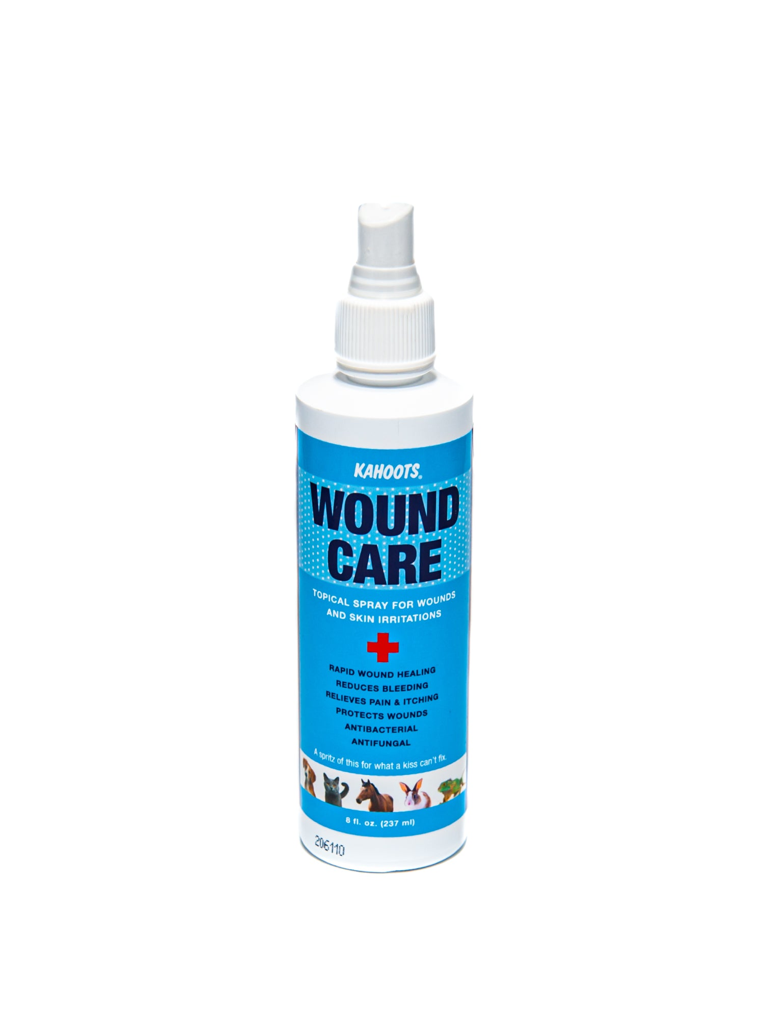 Kahoots wound care spray. white bottle with a blue label and pictures of various animals