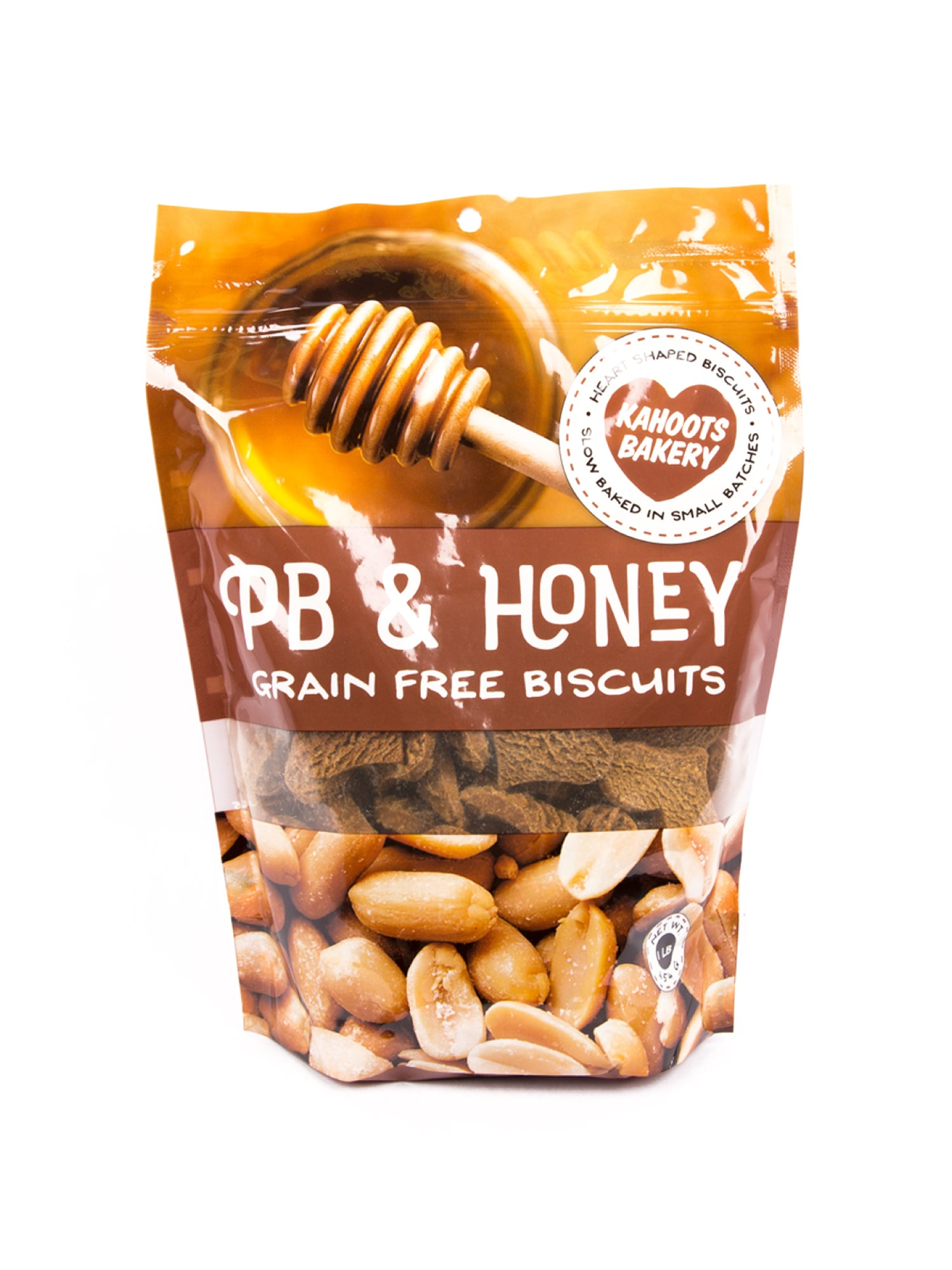 Grain-free Peanut Butter and honey heart-shaped dog biscuits in bag