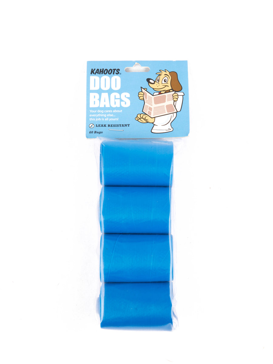 Blue doo bags in rolls, 4 per pack
