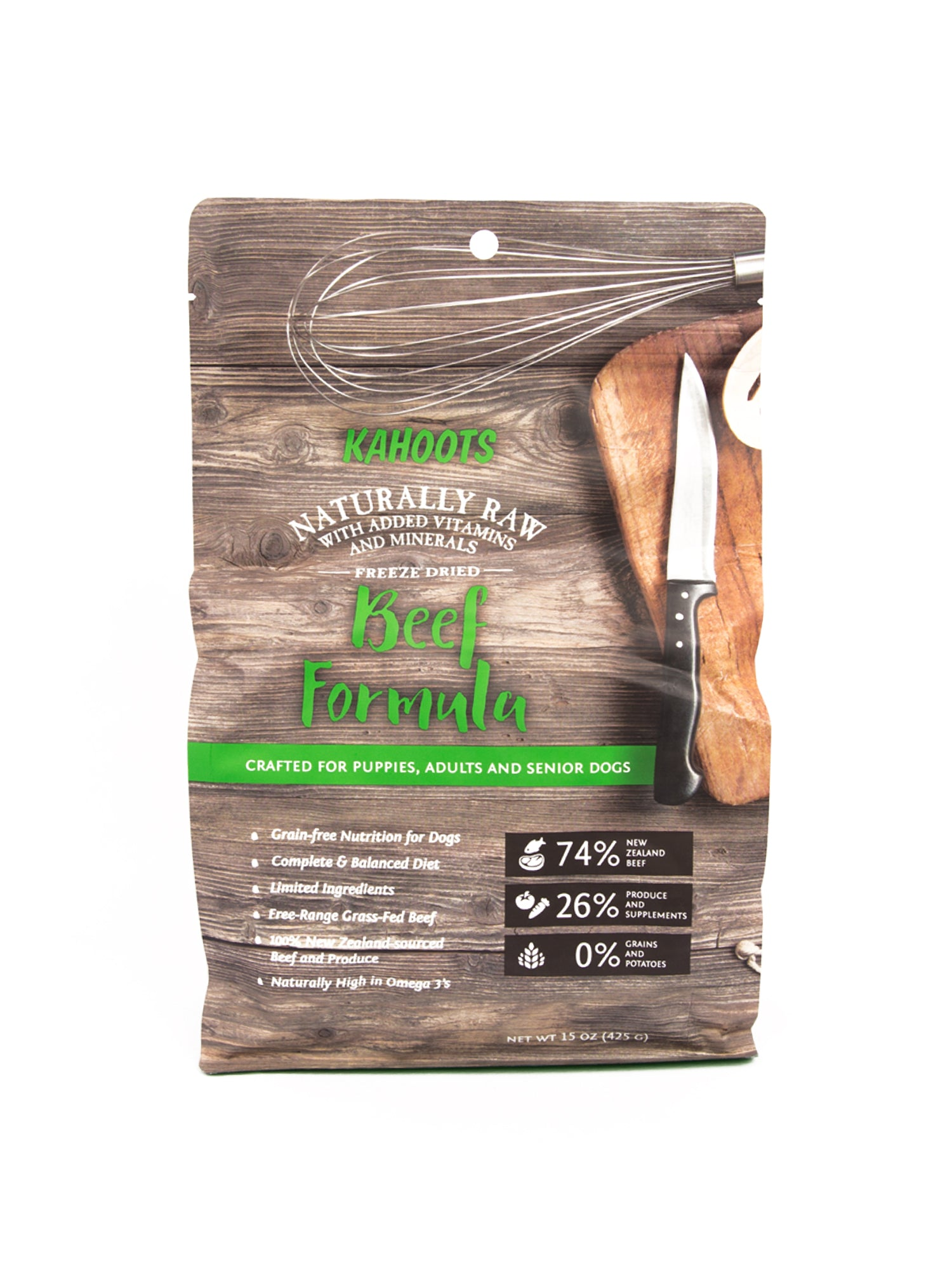 Freeze-dried beef dog food recipe. Picture of cuttingboard and cooking tools on the bag