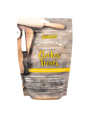 Freeze-dried chicken dog treats. Picture of cutting board and cooking tools on bag