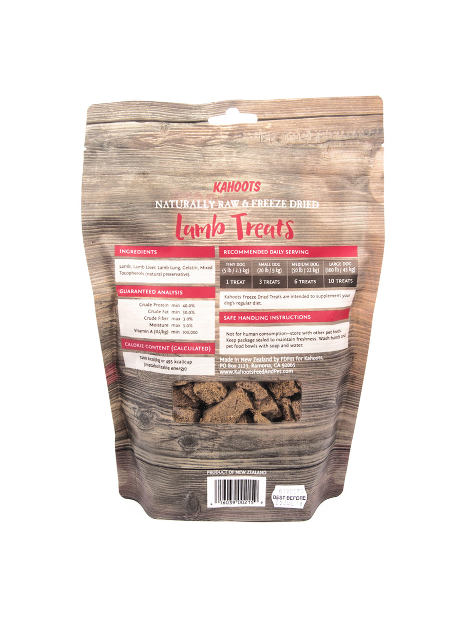 Back label of freeze-dried raw lamb dog treats