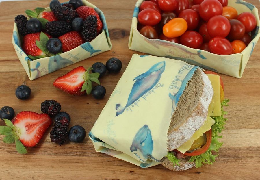 Save 20% - Beeswax Wraps: Endangered Whale Series -  Multi-Pack (S M L)