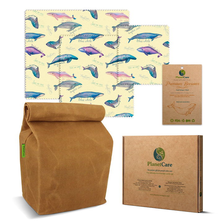 Premium Waxed Canvas Lunch Bag with Beeswax Food Wraps: Whale Series Limited Edition