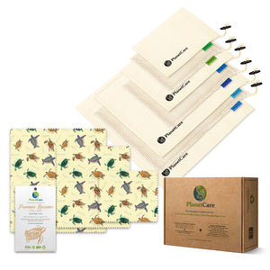 10% off! Organic Cotton Produce Bags (7pcs) PLUS Beeswax Food Wraps Pack (3pcs): Baby Sea Turtles