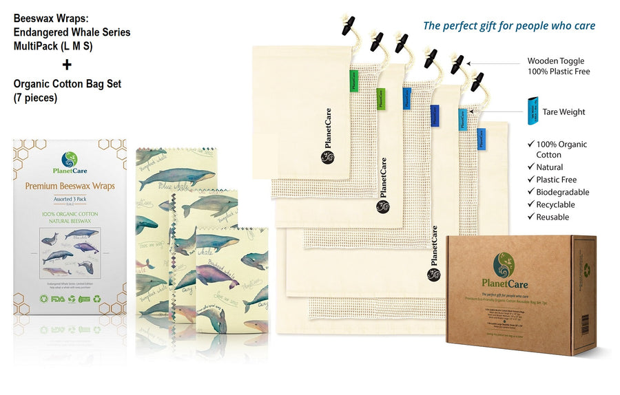 Organic Cotton Produce Bags (7pcs) PLUS Beeswax Food Wraps Pack (3pcs): Endangered Whales