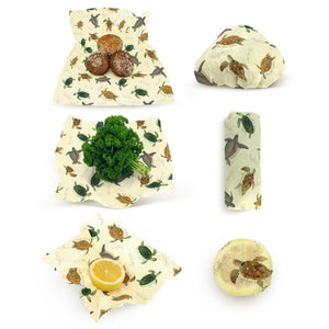 Save 20% - Beeswax Food Wraps : Endangered Sea Turtles Series - Multi-Pack (S M L).