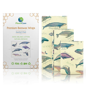 Buy One Get One Free! - Beeswax Wraps: Endangered Whale Series -  Multi-Pack (S M L)