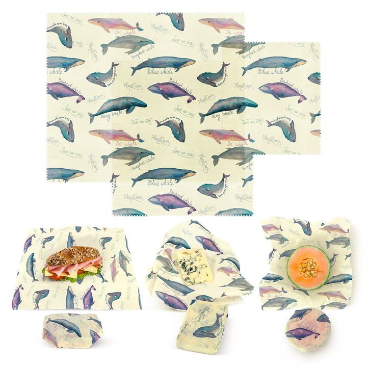 Beeswax Wraps Endangered Whale Series - Limited Edition