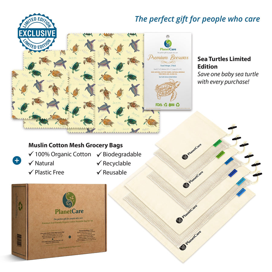Organic Cotton Produce Bags (7pcs) PLUS Beeswax Food Wraps Pack (3pcs): Baby Sea Turtles