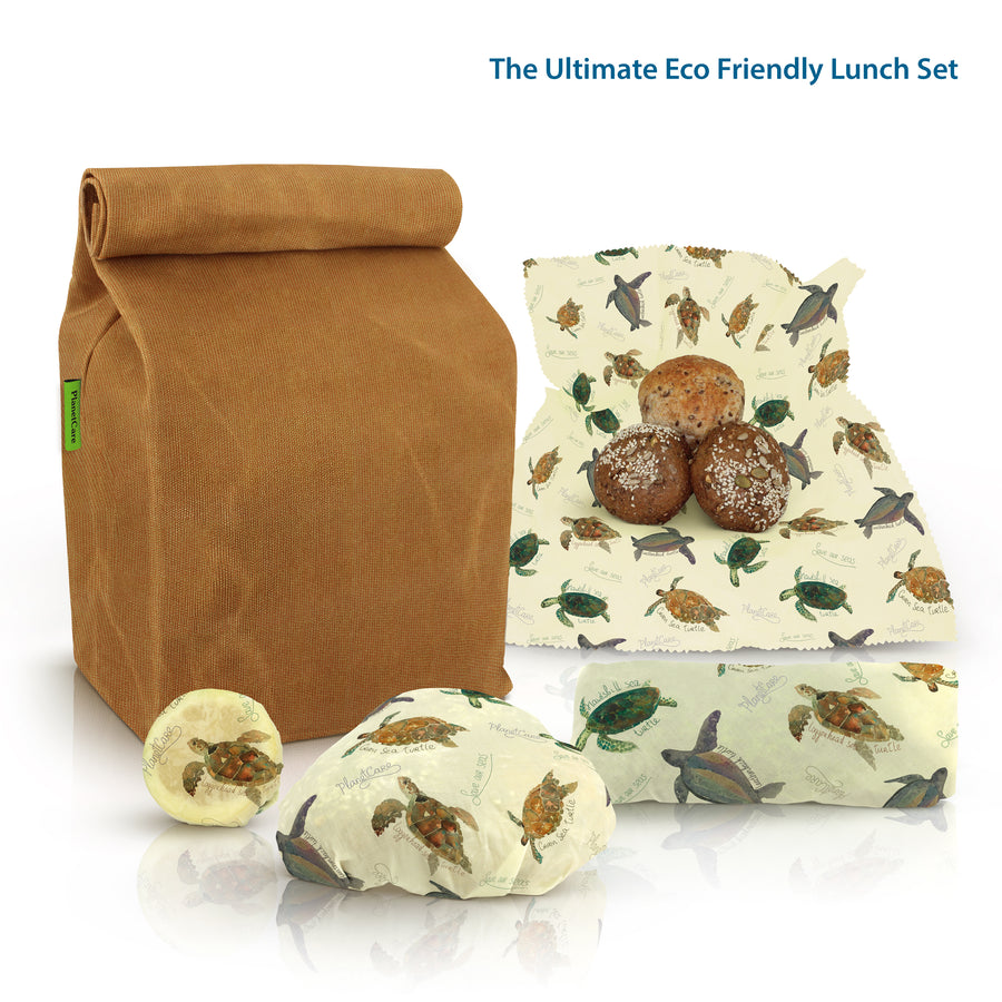 Premium Waxed Canvas Lunch Bag with Beeswax Food Wraps: Sea Turtle Series Limited Edition