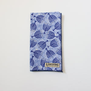 Chanukah Menorah holiday pocket square with Metallic Highlights