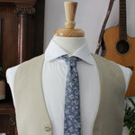 White Floral on Blue Chambray Necktie