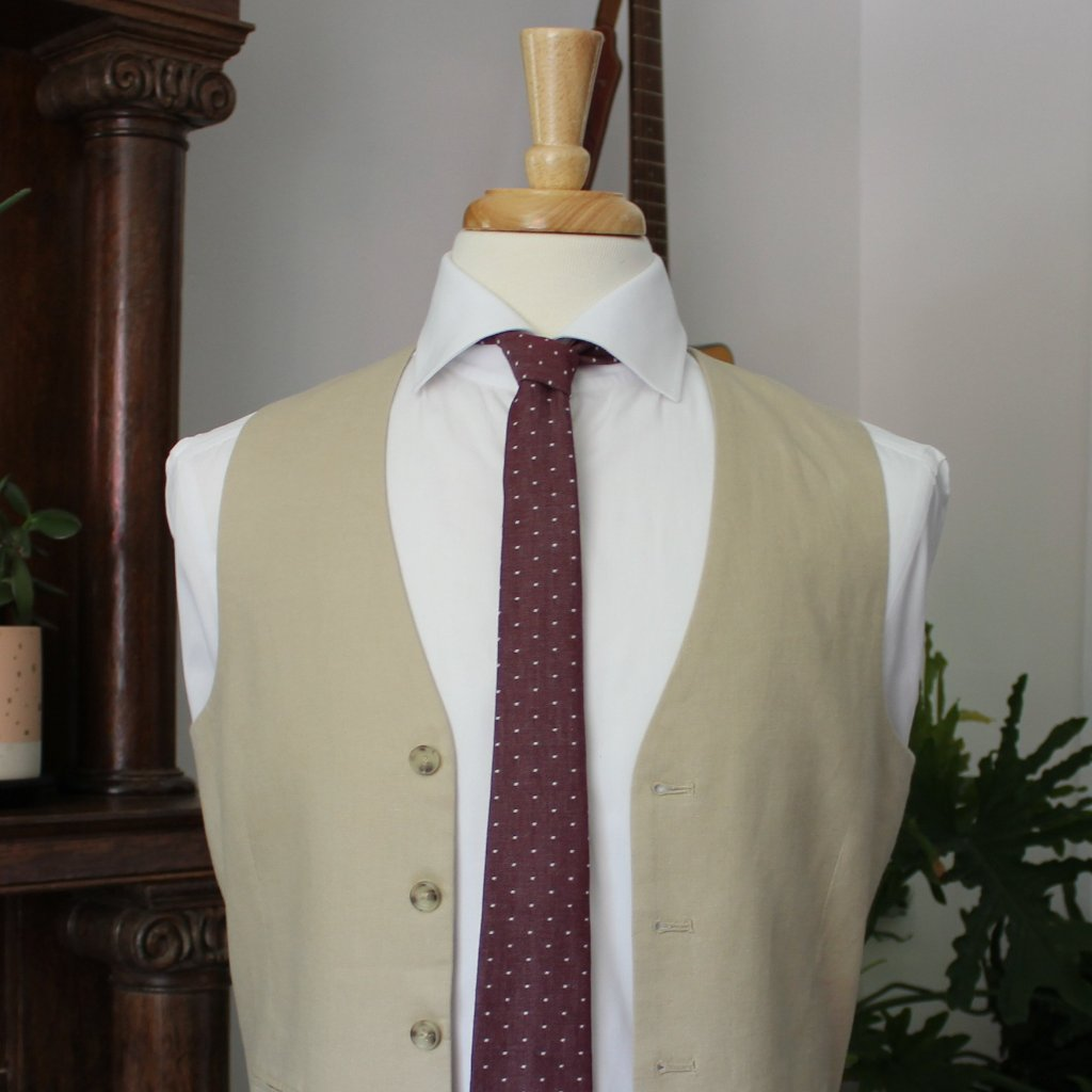 Burgundy Chambray Dot Necktie