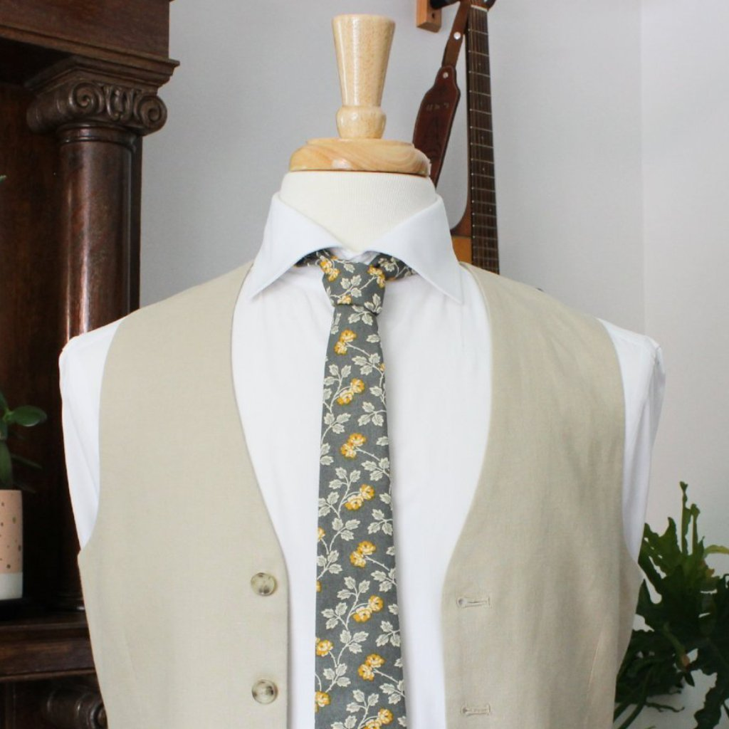 Marigold Necktie on Gray