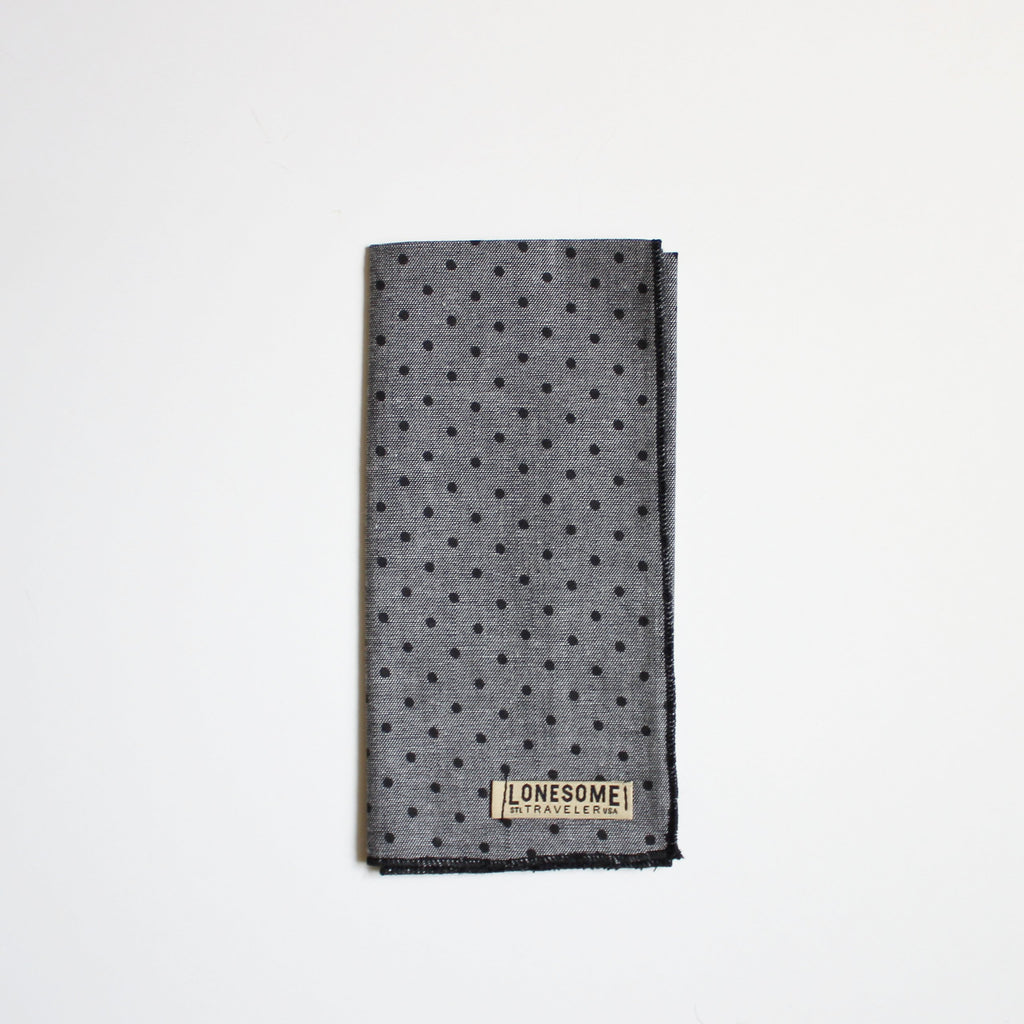 Black Dot Chambray Pocket Square