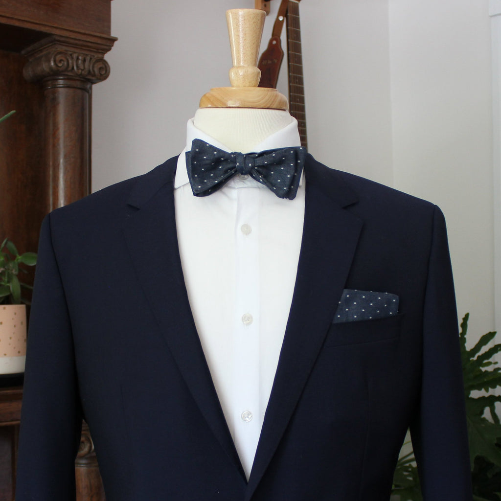 Navy Dot Chambray Bow Tie