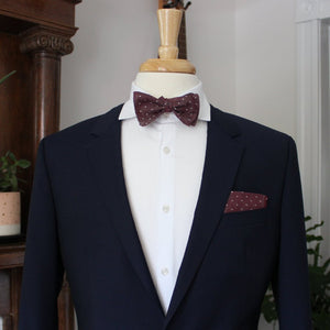 Burgundy Dot Chambray Bow Tie