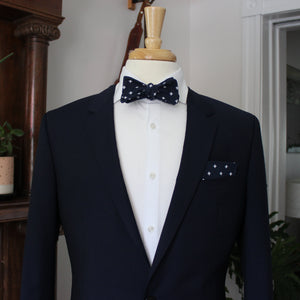 Navy and White Fleur de Lis Bow Tie