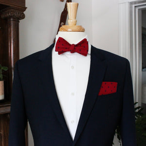 Red with Navy Fleur de Lis Bow Tie