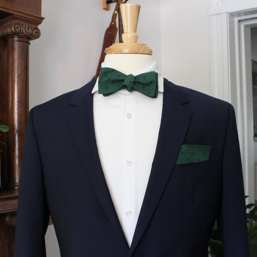 Forest Green with Navy Fleur de Lis Bow Tie