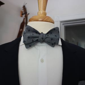 Chambray with Navy Fleur de Lis Bow Tie