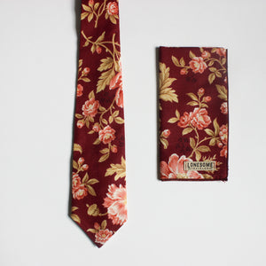 Antique Rose in Wine Pocket Square