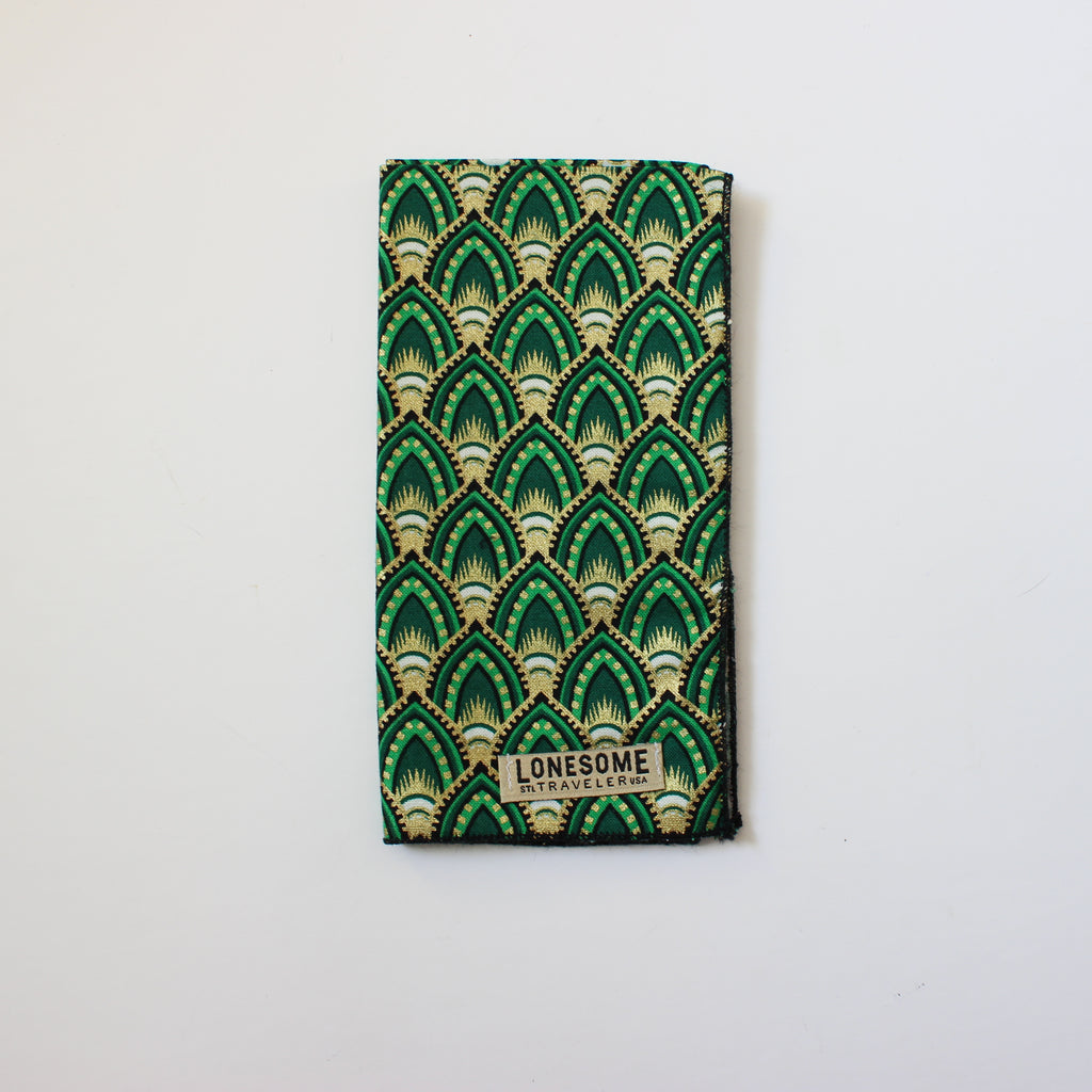 Emerald Deco Holiday pocket square with Gold Metallic Highlights