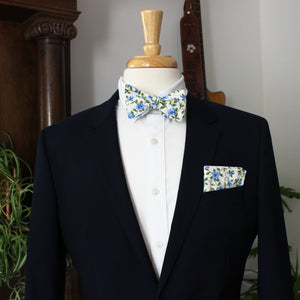 Morning Glory on White Bow Tie