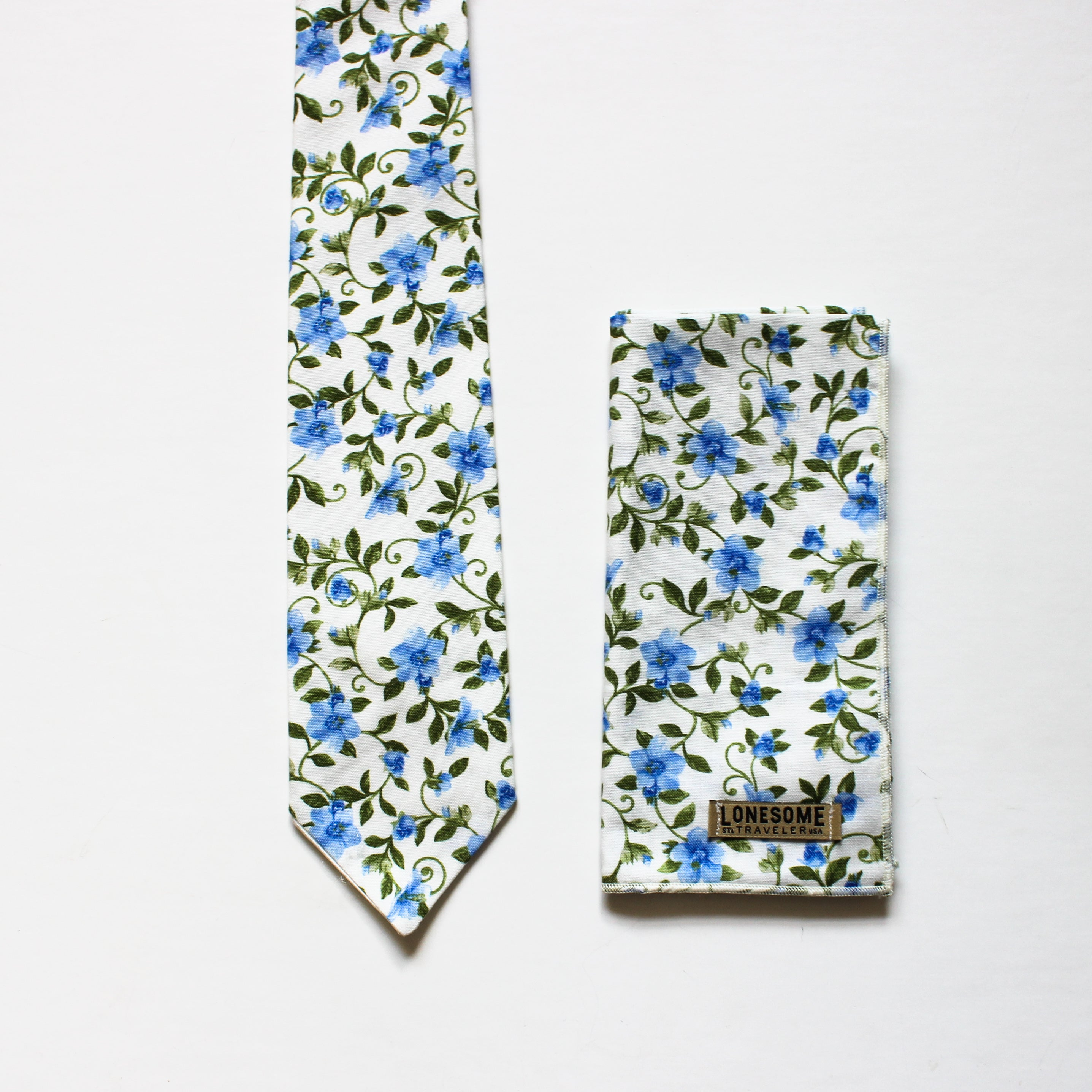 Morning Glory Floral on White necktie
