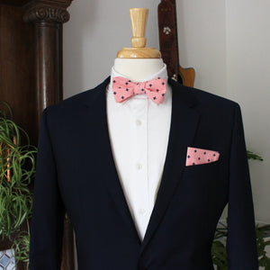 Pink and Navy Fleur de Lis Bow Tie