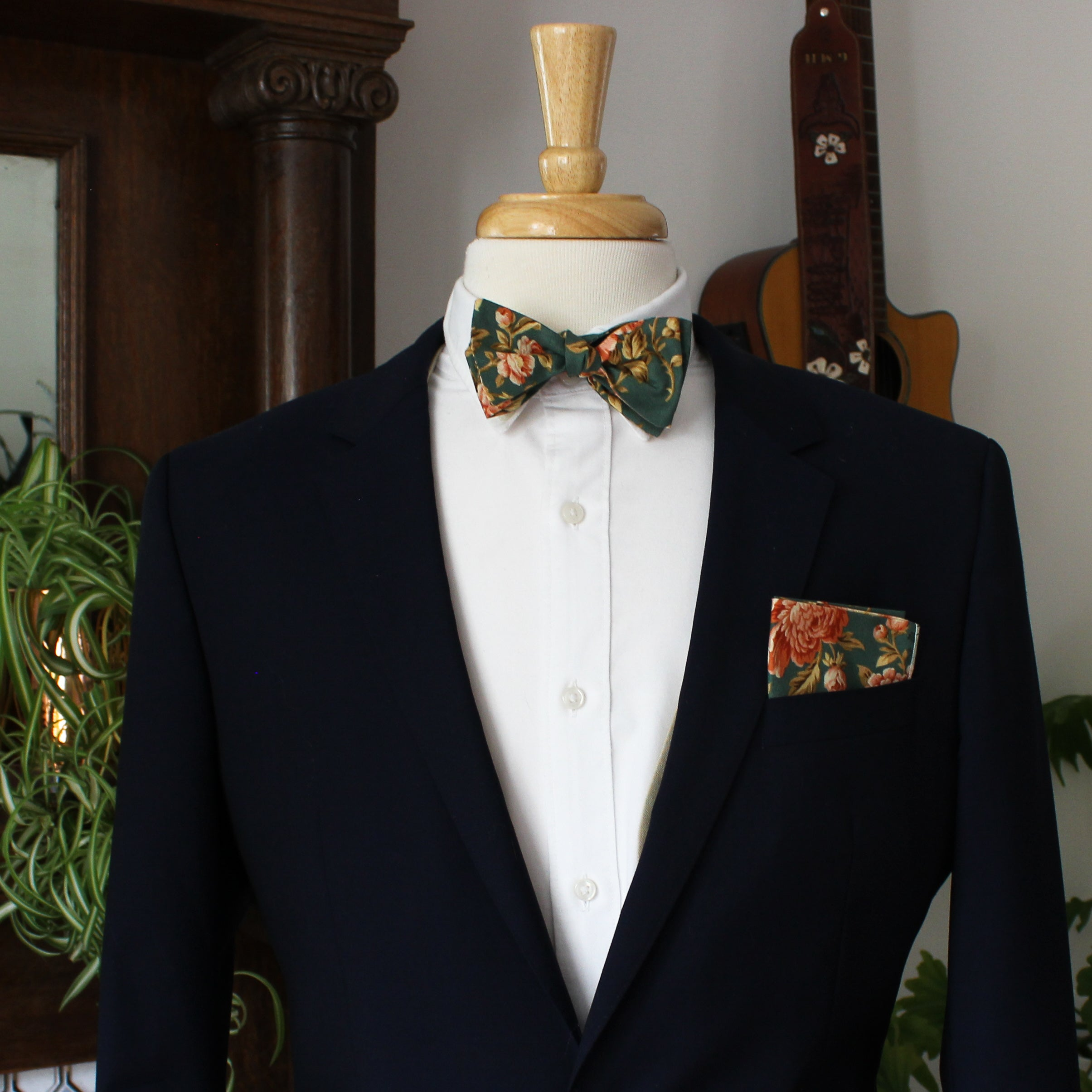Antique Rose in Green Bow Tie