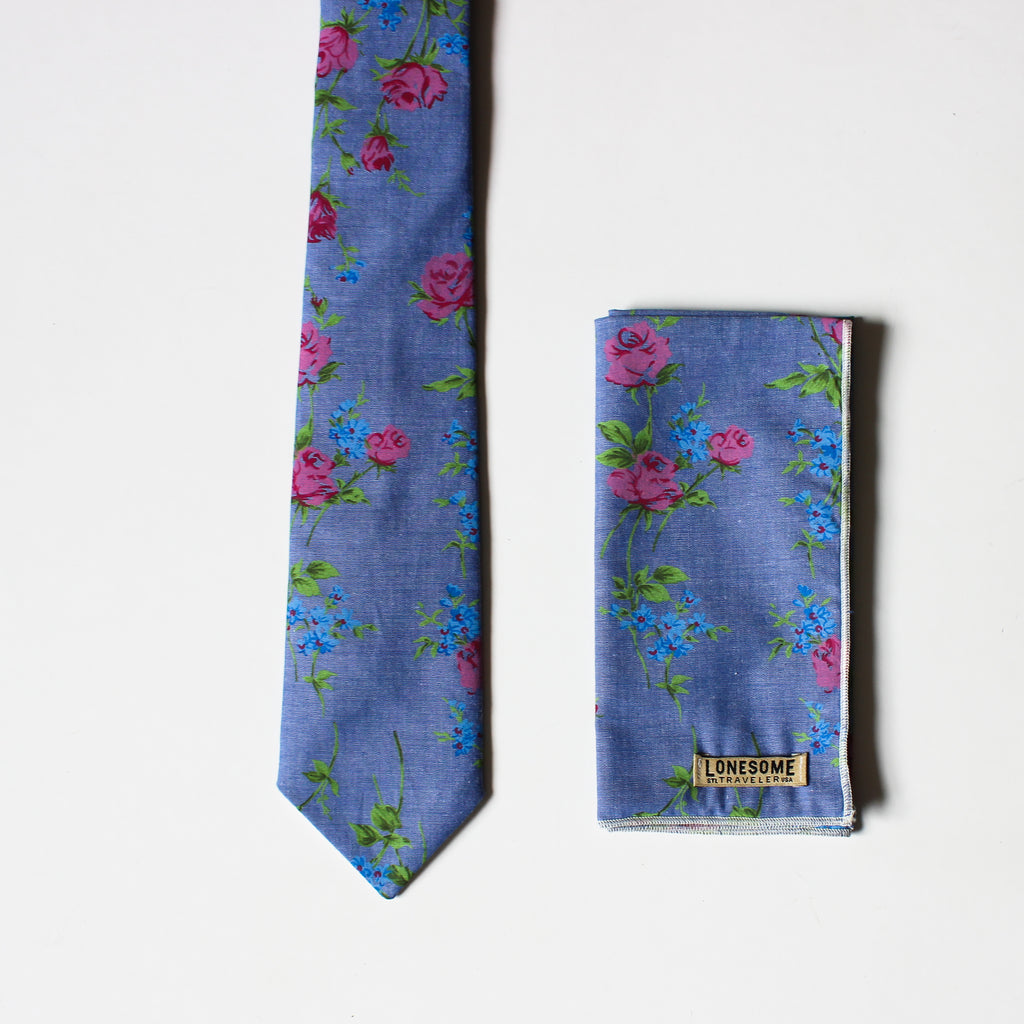 Rosebud Chambray Pocket Square