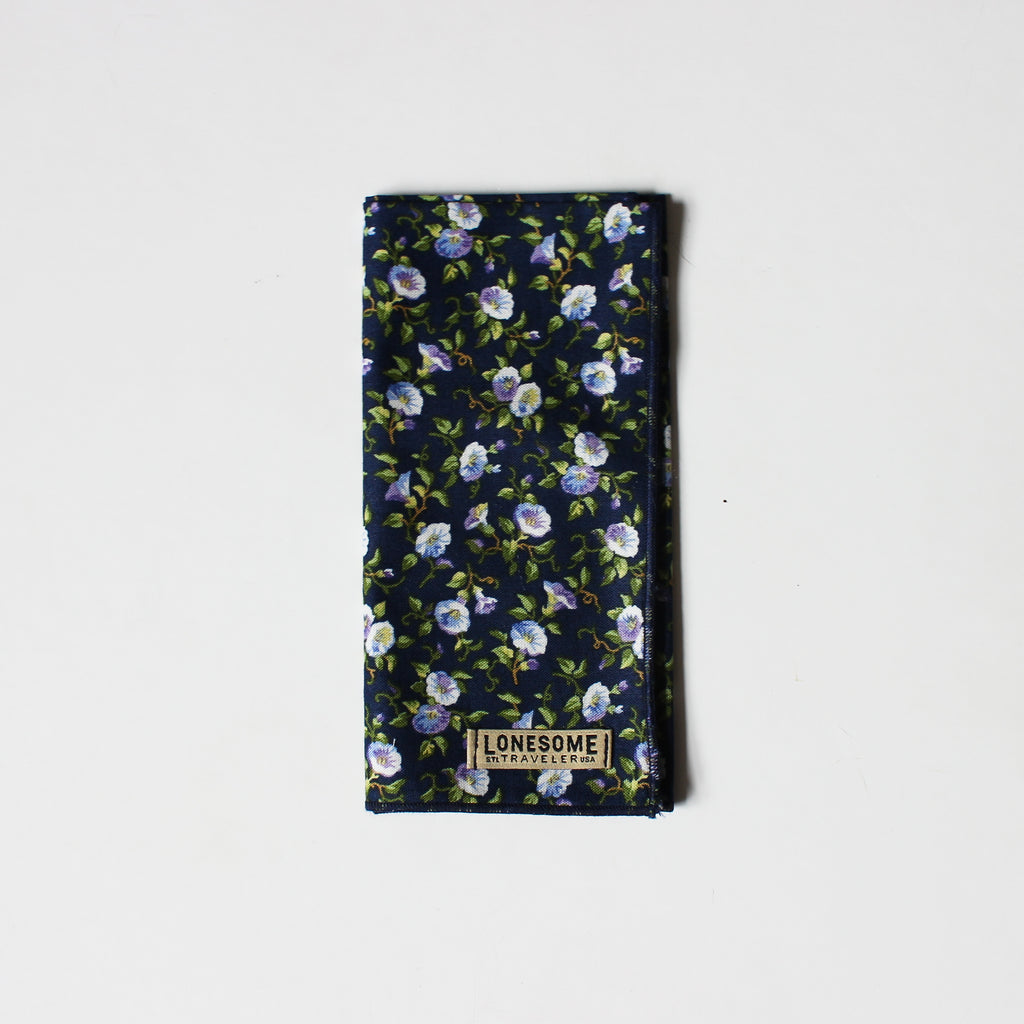 Morning Glory on Navy Pocket Square